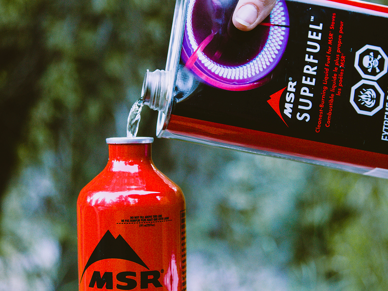 MSR Superfuel being poured into canister