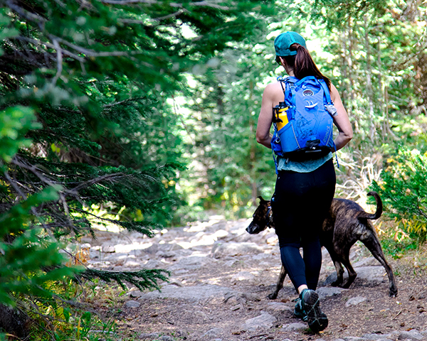 Woman walking with dog through forest