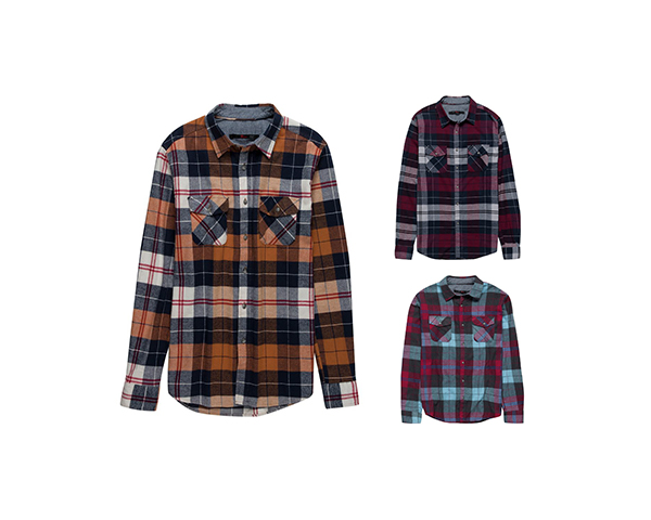 3 flannels on white background