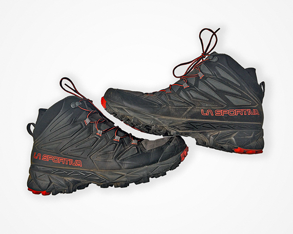 La sportiva blade gtx shoes on gray background