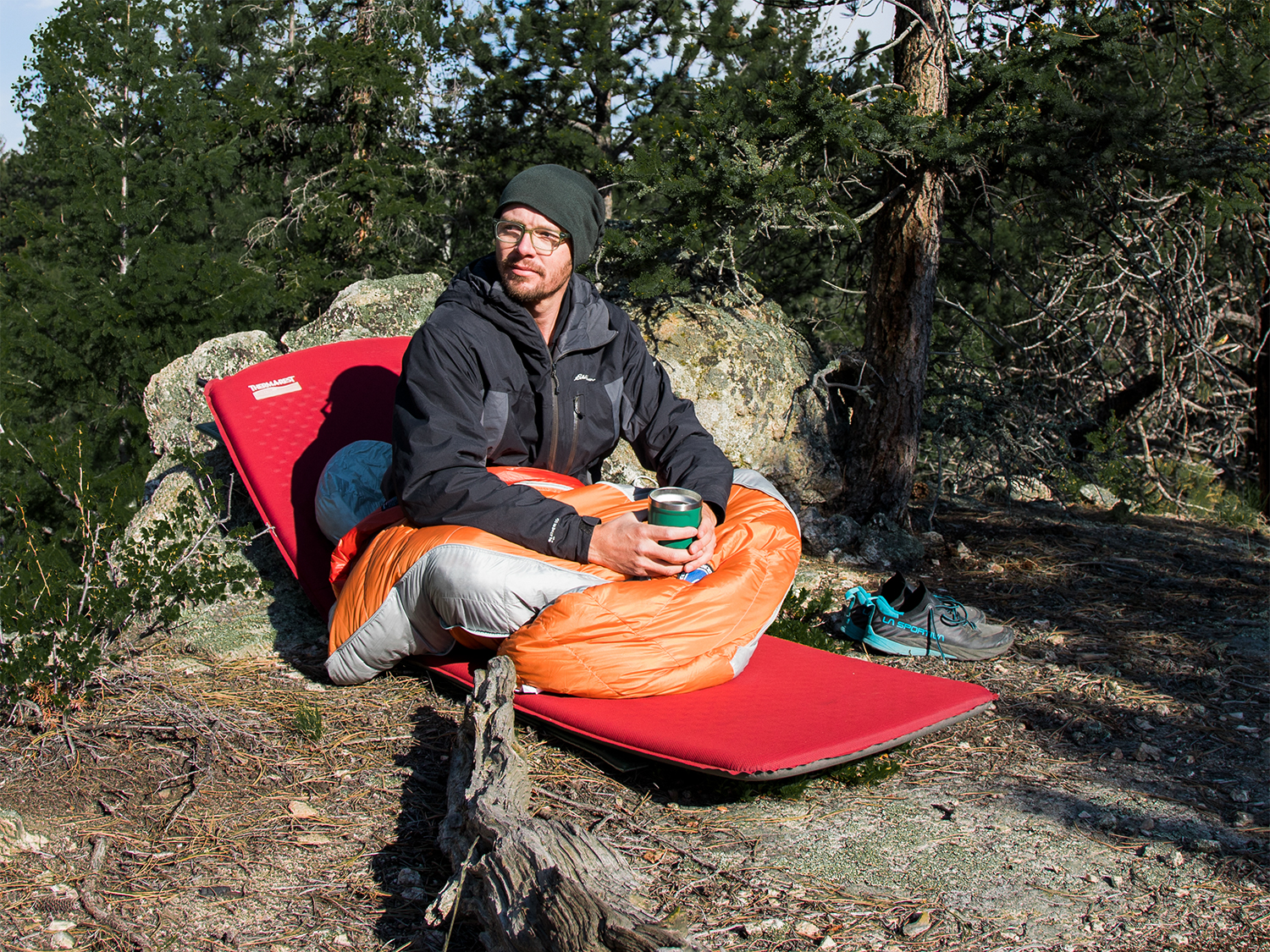 Man sitting in Big Agnes sleeping bag