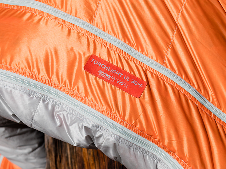 Big Agnes Torchlight sleeping bag label