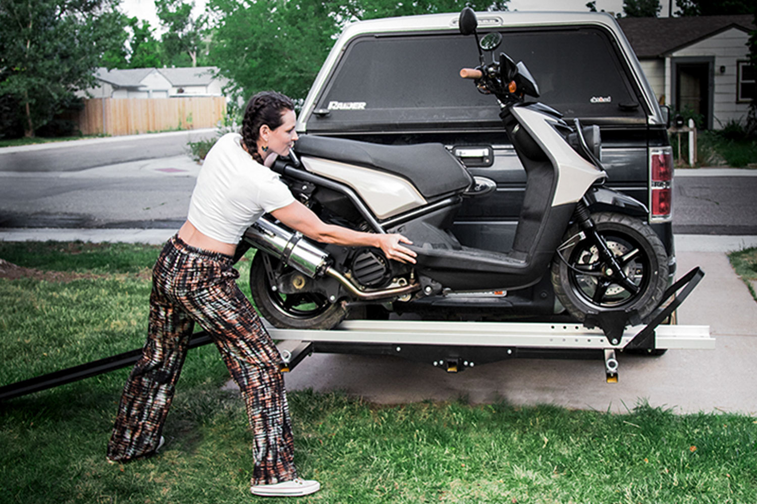 Discount Ramps Black Widow Deluxe Motorcycle Carrier on truck